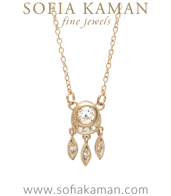 Bohemian Inspired Gold and Diamond Necklace with Old European cut diamond designed by Sofia Kaman handmade in Los Angeles using our SKFJ ethical jewelry process.