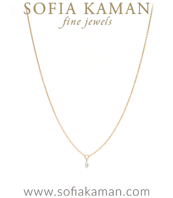 14K Gold Classic Style Single Marquise Diamond Drop Every Day Layering Necklace designed by Sofia Kaman handmade in Los Angeles