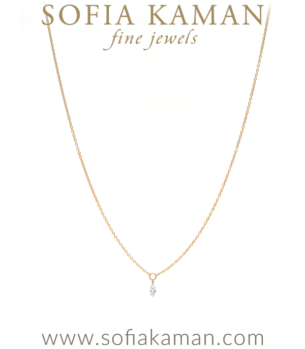 14K Gold Classic Style Single Marquise Diamond Drop Every Day Layering Necklace designed by Sofia Kaman handmade in Los Angeles using our SKFJ ethical jewelry process.