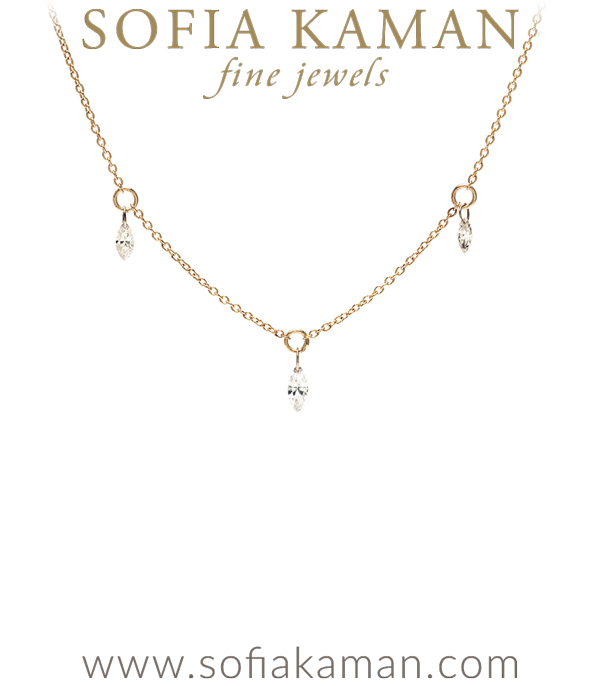 Triple Diamond Bohemian Bridal Layering Necklace