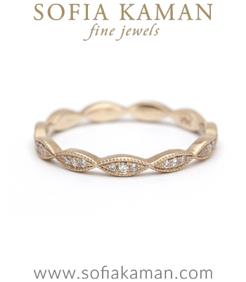Vintage inspired Bohemian Pave Set Bridal Diamond Stacking Ring made in Los Angeles