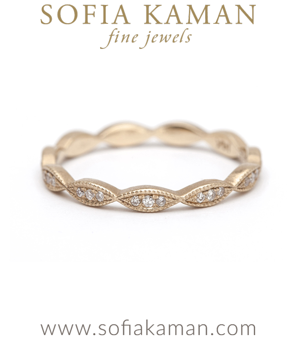 Vintage inspired Bohemian Pave Set Bridal Diamond Stacking Ring designed by Sofia Kaman handmade in Los Angeles