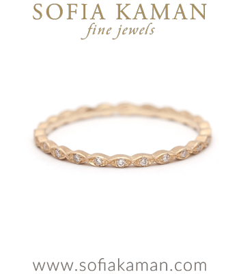 Vintage Inspired Petite Gold Diamond Bohemian Eternity Stacking Wedding Band designed by Sofia Kaman handmade in Los Angeles