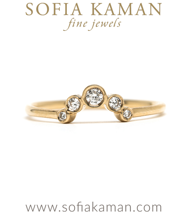 Gold Diamond Handmade Stacking Ring Sunrise Stackable Wedding Band designed by Sofia Kaman handmade in Los Angeles using our SKFJ ethical jewelry process.