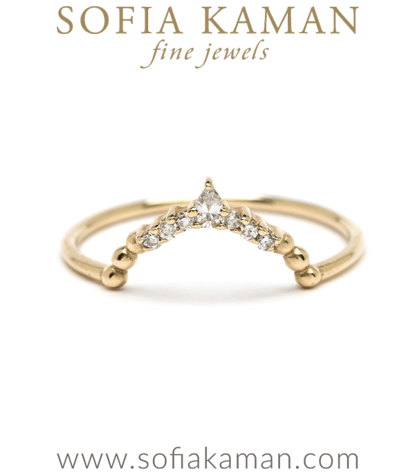 14K Gold Pear Shape Diamond Petite Boho Stacking Wedding Band designed by Sofia Kaman handmade in Los Angeles using our SKFJ ethical jewelry process.