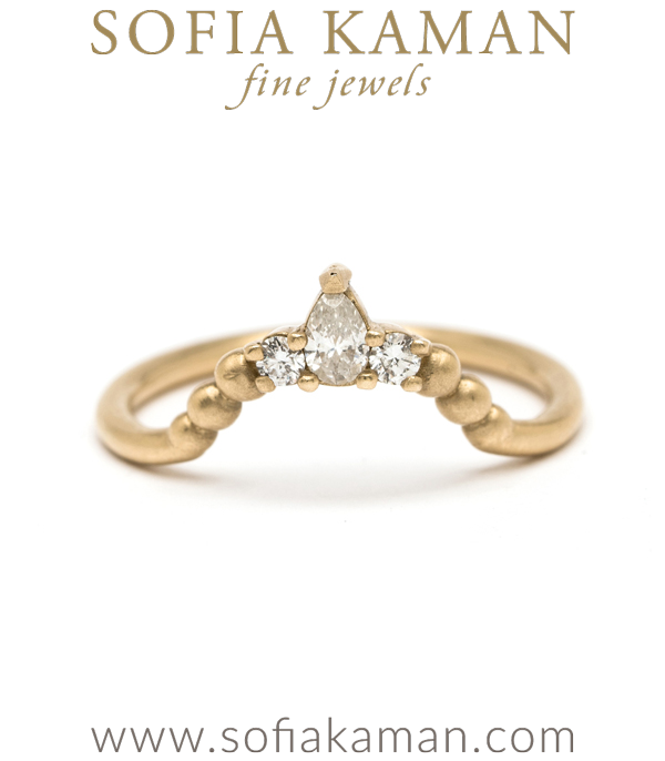 14K Gold Pear Shape Diamond Boho Tiara Stacking Wedding Band designed by Sofia Kaman handmade in Los Angeles using our SKFJ ethical jewelry process.