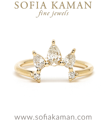 Pear Shaped Diamond Nesting Band for Engagement Rings designed by Sofia Kaman handmade in Los Angeles