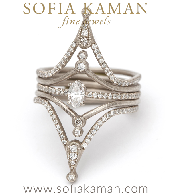 Diamond Bezels Tiara Ring Stacked
