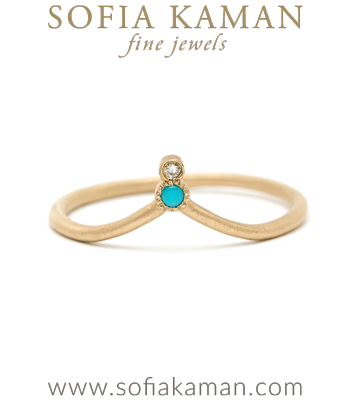 Bezel Set Turquoise Diamond Organic Boho Stacking Ring Dramatic Bohemian Wedding Band designed by Sofia Kaman handmade in Los Angeles