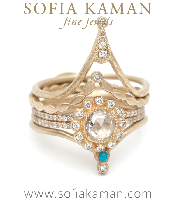 Turquoise And Diamond Tiara Ring Stacked
