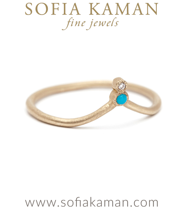 Turquoise Diamond Organic Boho Stacking Ring Dramatic Bohemian Wedding Band made in Los Angeles