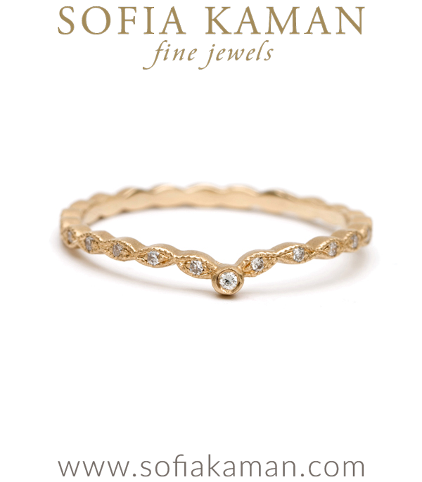 Vintage Inspired Bohemian Pave Set Diamond Bridal Stacking Ring designed by Sofia Kaman handmade in Los Angeles
