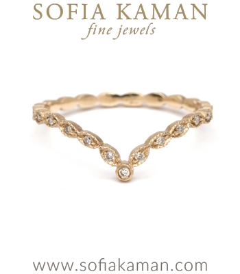 Dramatic Vintage Inspired Pave Set Diamond Boho Bridal Stacking Ring designed by Sofia Kaman handmade in Los Angeles