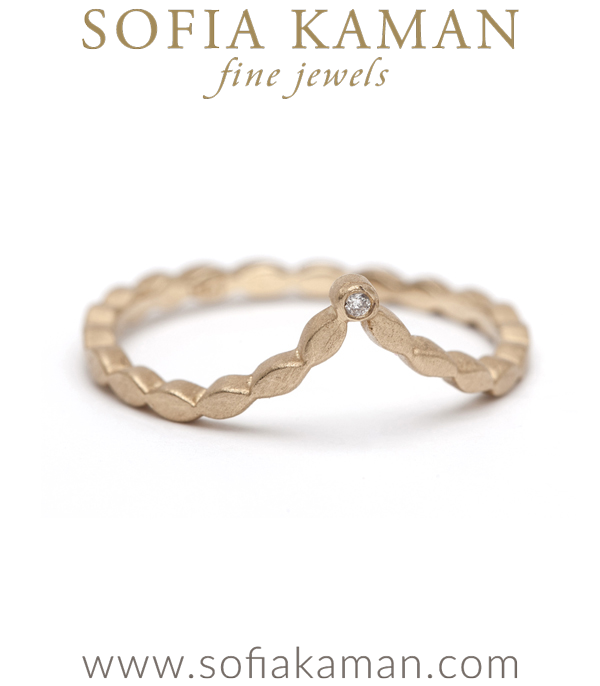 Dramatic Vintage Inspired Bezel Set Diamond Boho Bridal Stacking Ring designed by Sofia Kaman handmade in Los Angeles