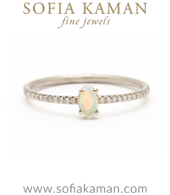Boho Engagement Rings 14K Gold Marquis Opal Pave Diamond Band Boho Engagement Ring Stacking Band designed by Sofia Kaman handmade in Los Angeles