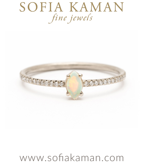 14K Gold Marquis Opal Pave Diamond Band Boho Engagement Ring Stacking Band designed by Sofia Kaman handmade in Los Angeles using our SKFJ ethical jewelry process. This piece has been sold and is in the SK Archive.