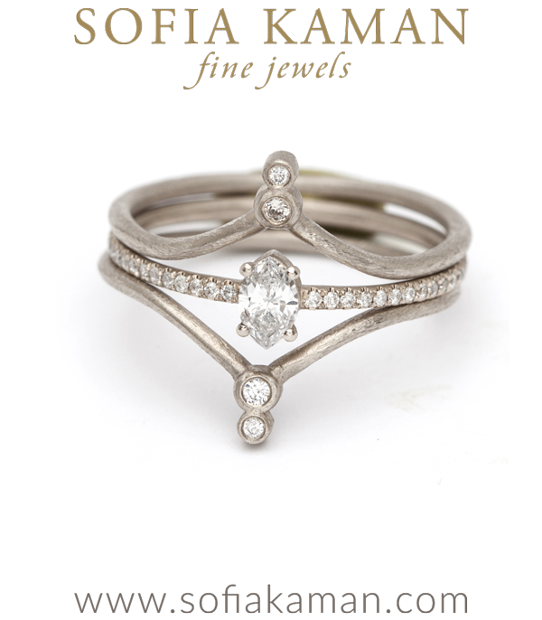 Petite Marquis Solitaire With Diamond Band Stacked