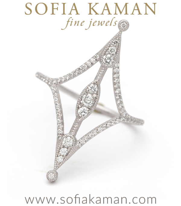 Dramatic Diamond Boho Stacking Ring designed by Sofia Kaman handmade in Los Angeles
