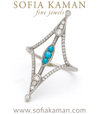 Dramatic Diamond Turquoise Boho Stacking Ring designed by Sofia Kaman handmade in Los Angeles
