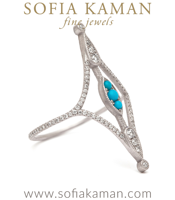 Pixie Ring With Turquoise And Diamonds