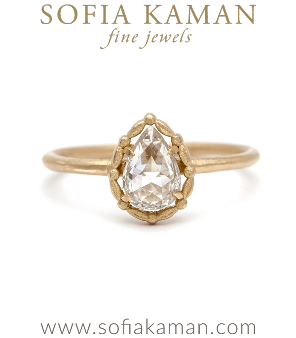 Pear Shape Rose Cut Diamond Bohemian Engagement Ring designed by Sofia Kaman handmade in Los Angeles using our SKFJ ethical jewelry process. This piece has been sold and is in the SK Archive.