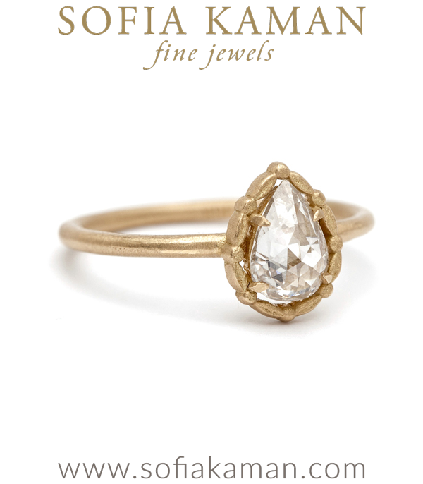 Leafy Halo Solitaire Pear Rose Cut