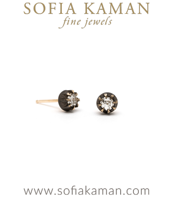 One of a Kind Bohemian Bridal Diamond Stud Earrings designed by Sofia Kaman handmade in Los Angeles