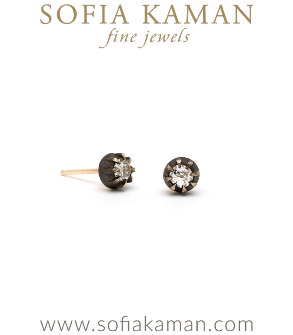One of a Kind Bohemian Bridal Diamond Stud Earrings designed by Sofia Kaman handmade in Los Angeles using our SKFJ ethical jewelry process.