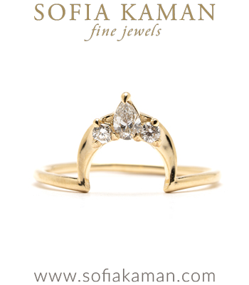 14k Gold Diamond Crescent Stacking Band for Unique Engagement Rings designed by Sofia Kaman handmade in Los Angeles