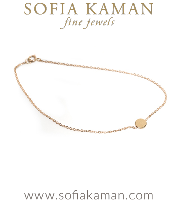 14K Gold Infinity Disc Good Luck Charm Bracelete designed by Sofia Kaman handmade in Los Angeles