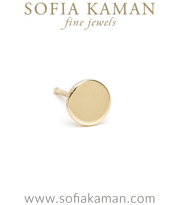 14K Shiny Yellow Gold Infinity Disc Single Stud Earring Each Sold Separately Perfect for Mixing and Matching designed by Sofia Kaman handmade in Los Angeles using our SKFJ ethical jewelry process.