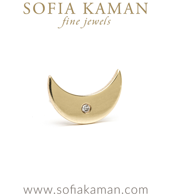 14K Shiny Yellow Gold Diamond Accent Tiny Crescent Moon Single Stud Earring Gift for Mixing and Matching designed by Sofia Kaman handmade in Los Angeles using our SKFJ ethical jewelry process.