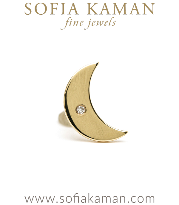 14k Gold Diamond Accent Moon Earring By Sofia Kaman