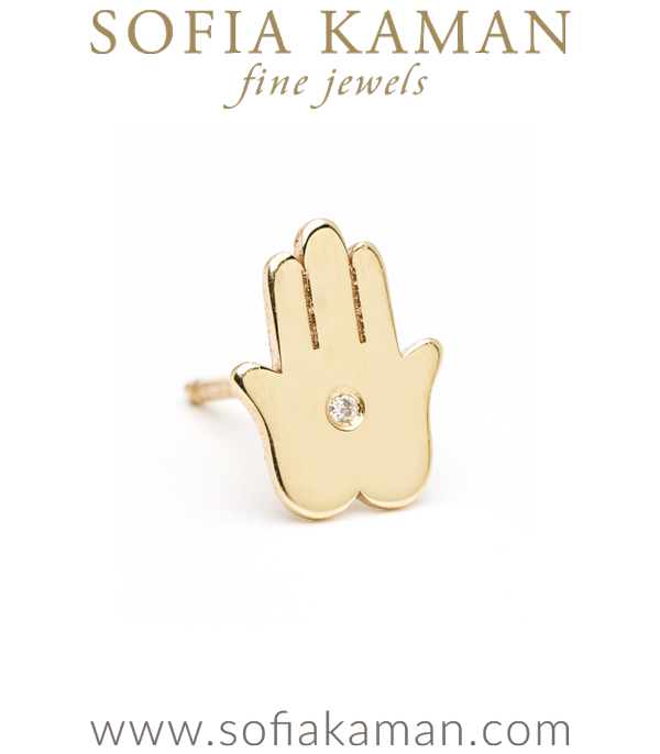 14K Shiny Yellow Gold Diamond Accent Hamsa Hand Single Stud Earring Gift Prefect for Mixing and Matching designed by Sofia Kaman handmade in Los Angeles using our SKFJ ethical jewelry process.