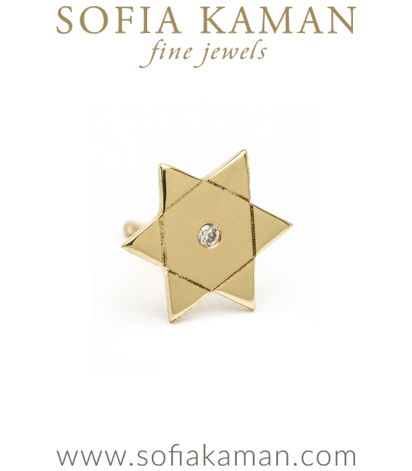 14K Shiny Yellow Gold Diamond Accent Star of David Single Stud Earring Gift Perfect for Mixing and Matching designed by Sofia Kaman handmade in Los Angeles using our SKFJ ethical jewelry process.