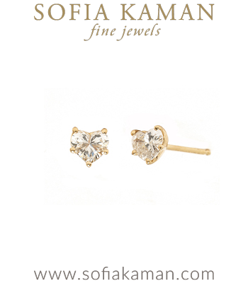 Diamond Heart Earring Studs for Unique Engagement Rings designed by Sofia Kaman handmade in Los Angeles