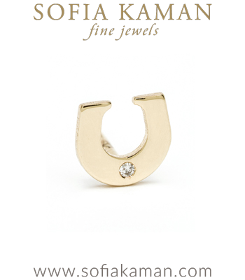 14K Shiny Yellow Gold Diamond Accent Lucky Horse Shoe Charm Single Stud Earring Perfect for Mixing And Matching Gift Idea designed by Sofia Kaman handmade in Los Angeles