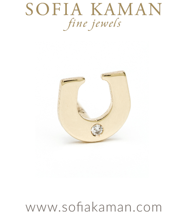 14K Shiny Yellow Gold Diamond Accent Lucky Horse Shoe Charm Single Stud Earring Perfect for Mixing And Matching Gift Idea designed by Sofia Kaman handmade in Los Angeles using our SKFJ ethical jewelry process.