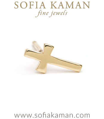 14K Shiny Yellow Gold Single Cross Stud Earring for Mixing and Matching Perfect Gift designed by Sofia Kaman handmade in Los Angeles