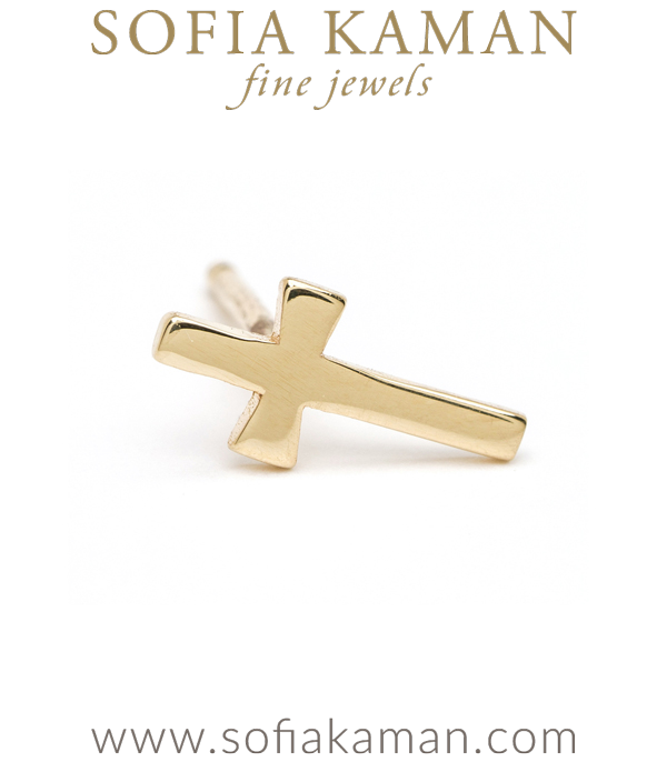 14K Shiny Yellow Gold Single Cross Stud Earring for Mixing and Matching Perfect Gift designed by Sofia Kaman handmade in Los Angeles using our SKFJ ethical jewelry process.