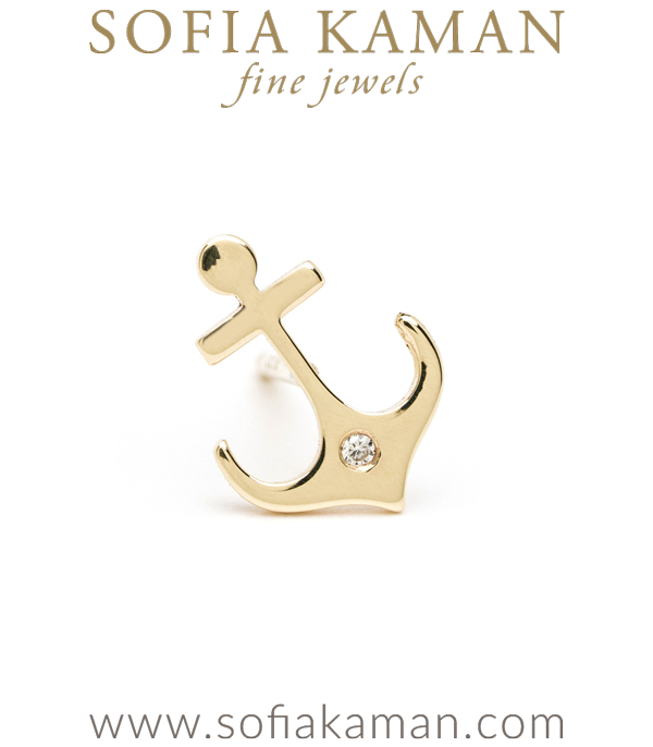 14K Shiny Yellow Gold Nautical Gift Diamond Set Anchor Single Stud Earring for Mix and Match designed by Sofia Kaman handmade in Los Angeles