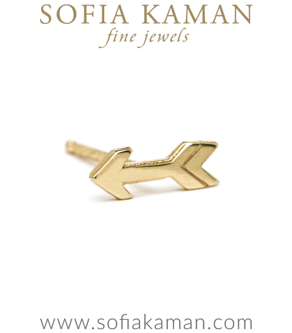 14K Yellow Shiny Gold Arrow Single Stud Earring Gift for Mix and Match designed by Sofia Kaman handmade in Los Angeles