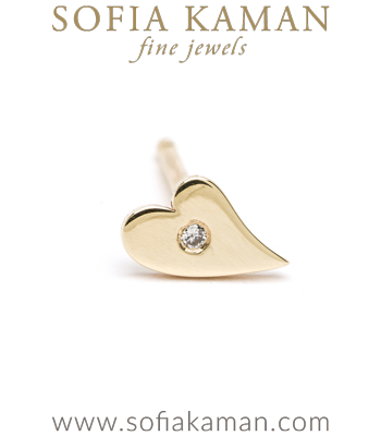 14K Shiny Yellow Gold Diamond Accent Tiny Heart Single Stud Earring Gift Idea Perfect for Mixing and Matching designed by Sofia Kaman handmade in Los Angeles