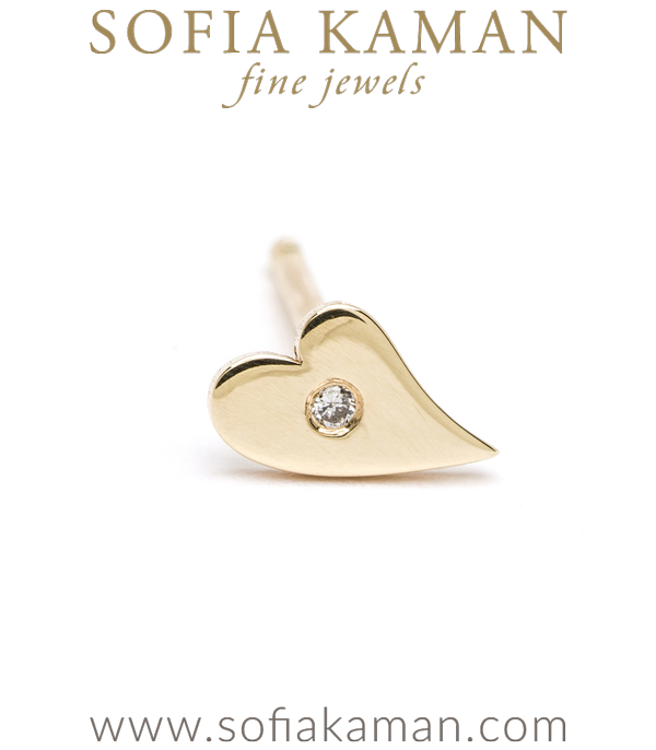 14k Gold Diamond Accent Dainty Heart Charm Stud Earring