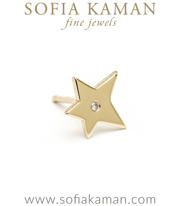14K Shiny Yellow Gold Tiny Shooting Star Single Stud Earring Gift Idea Perfect for Mixing and Matching designed by Sofia Kaman handmade in Los Angeles using our SKFJ ethical jewelry process.