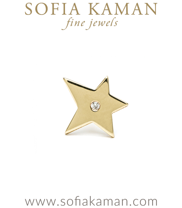 14k Gold Mini Star Charm Stud Earring By Sofia Kaman