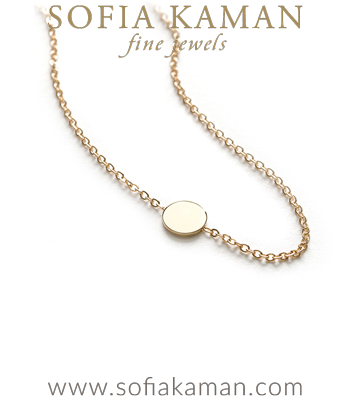 Charm Necklaces 14k Shiny Yellow Gold Infinity Disc Mini Charm Necklace Perfect for Gift designed by Sofia Kaman handmade in Los Angeles