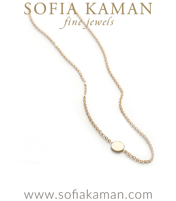 14k Dainty Disc Charm Gift Idea Necklace