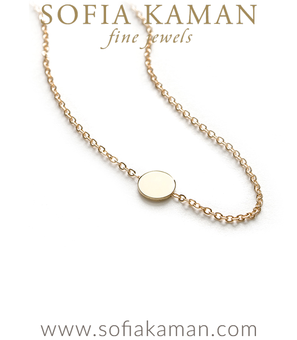 14k Shiny Yellow Gold Infinity Disc Mini Charm Necklace Perfect for Gift designed by Sofia Kaman handmade in Los Angeles