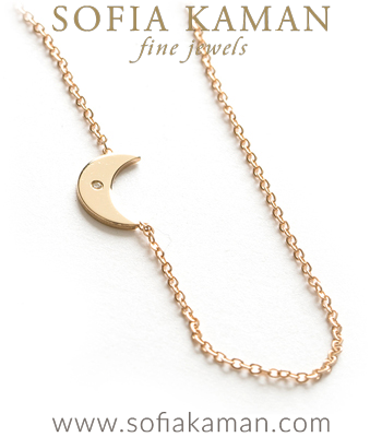 14K Shiny Yellow Gold Diamond Accent Tiny Crescent Moon Charm Necklace Perfect Gift designed by Sofia Kaman handmade in Los Angeles